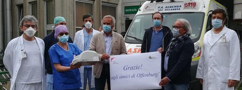 ospedale santa corona, pietra ligure, solidarietà, Offenburg