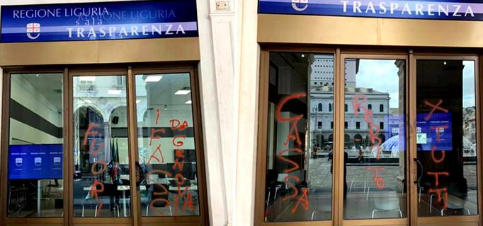 regione liguria, scritte sala trasparenza, cronaca