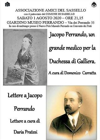Sassello, giardino del Museo ore 21,15 conferenza sul medico della Duchessa di Galliera, Jacopo Perrando