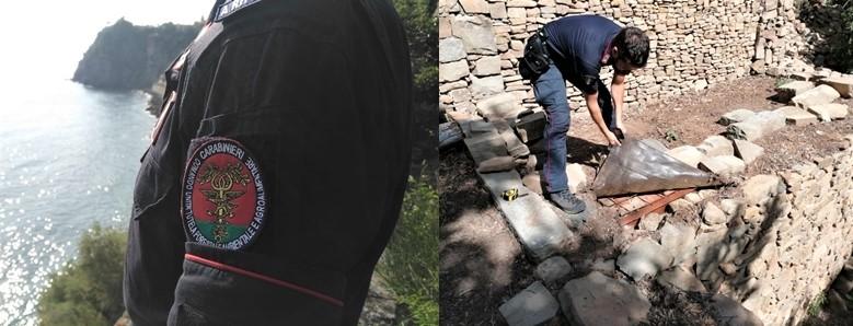Cinque Terre, in un cantiere abusivo i carabinieri trovano piante e semi di Cannabis