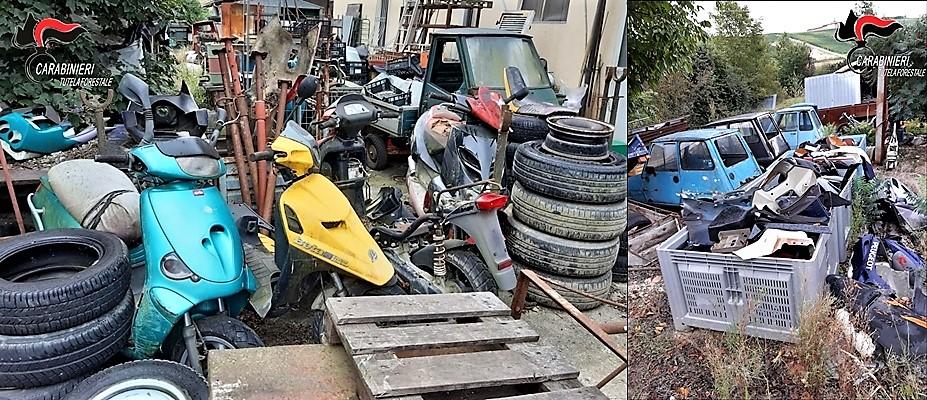 Meccanico di Cuneo beccato con oltre 150 moto, auto, rifiuti ferrosi in abbandono