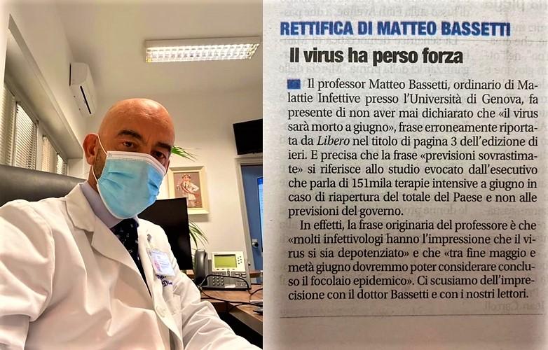 """Covid emergenza. Bassetti """"Ci vogliono calma e sangue freddo"""" e attenti alle fake news"""