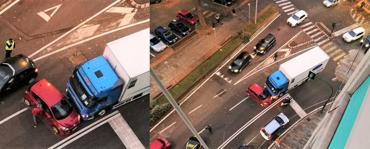 Spettacolare incidente in corso Mazzini tra auto e camion, nessun ferito