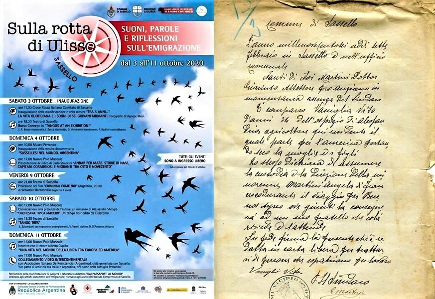 """Sassello. Settimana 3/11 ottobre """"Sulla rotta di Ulisse"""". Al Museo Perrando mostra sui sassellesi in Argentina"""