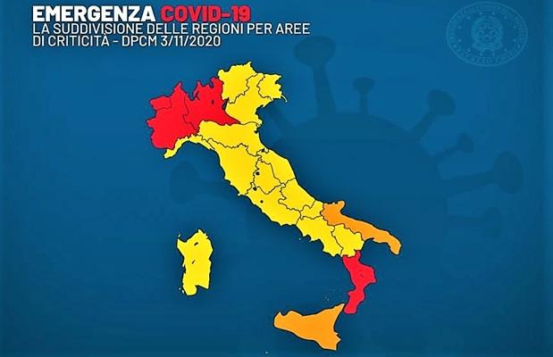 Covid. Da oggi l'Italia è divisa in tre aree di rischio: gialla, arancione e rossa, ma potrebbero cambiare ancora