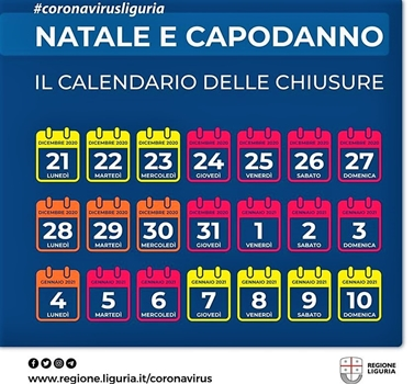 Liguria in rosso. Le regole di questo Decreto Natale 24, 25, 26, 27, 31dicembre e 1, 2, 3, 5, 6 gennaio