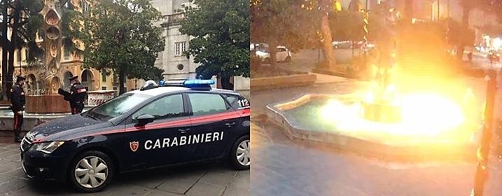 41enne festeggia incendiando una fontana a Spezia