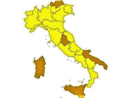italia zone gialle e arancione