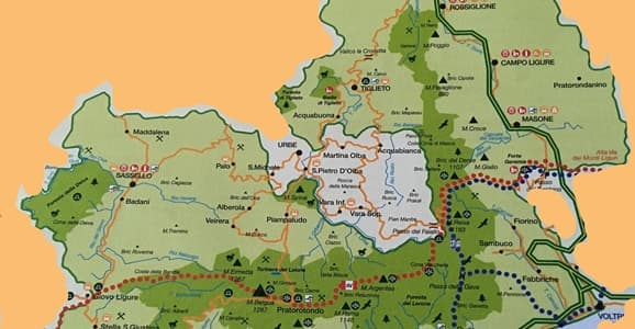 ampiamento Beigua cartina in mezzo Urbe fuori dal Parco