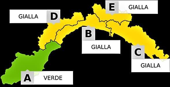 Liguria allerta gialla da mezzanotte alle 15 di domani