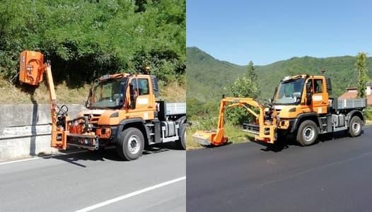 Il nuovo mezzo taglia erba per le strade provinciali savonesi