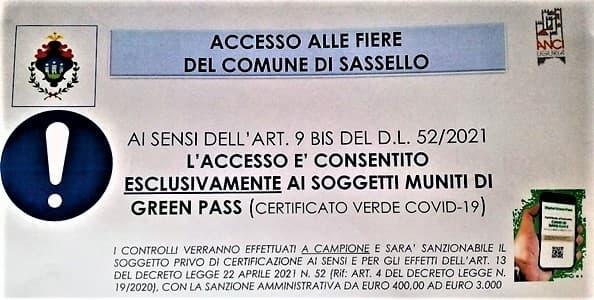 Sassello, Fiera del 29 agosto solo per chi ha green pass