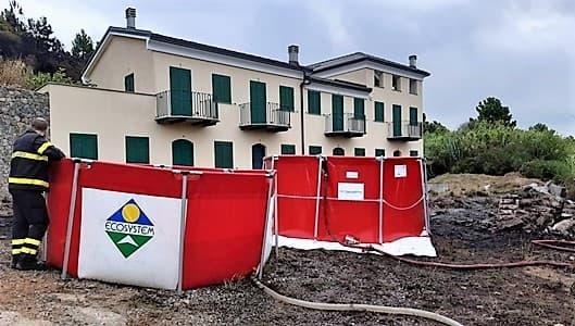 Incendio Ciantagalletto sulle alture di Savona in fase di bonifica