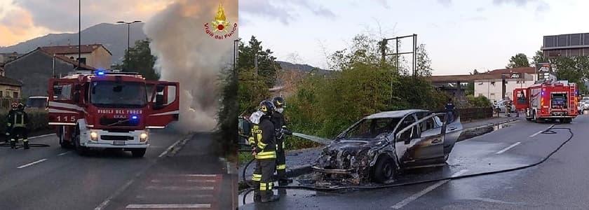 Vigili del fuoco per due incendi: container a Genova e auto a La Spezia