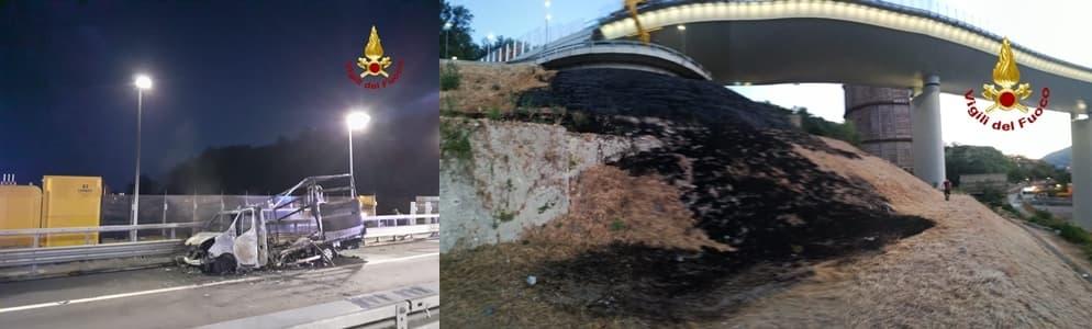 Brucia furgone sulla A10 al ponte San Giorgio (ex Morandi)
