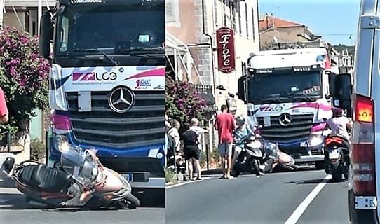 Incidente moto camion sull'Aurelia ad Albisola Superiore