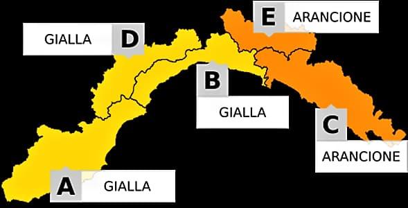 Liguria, domani allerta gialla a Ponente e Centro, arancione a Levante