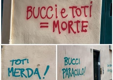 Muri imbrattati con insulti dedicati a Giovanni Toti e Marco Bucci